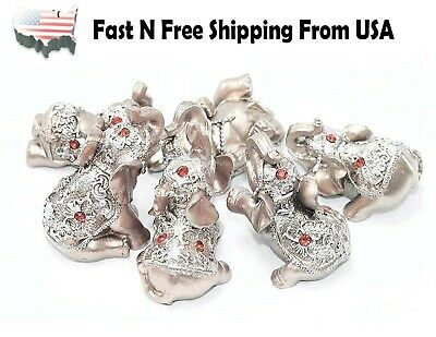 Set of 6 Pink Rose Gold Lucky Elephants Statues Feng Shui Figurine Home Decor