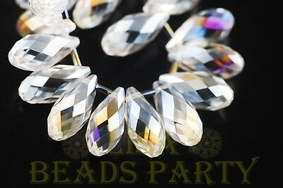 New 5pcs 20X10mm Teardrop Glass Pendant Loose Spacer Big Bead Bulk Clear AB