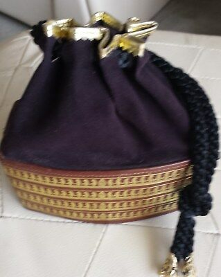 Vintage Bucket Style Bag - Suede And Leather Look Drawstring Top Closure