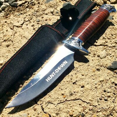 "10"" Wood Hunting Skinning Survival Fixed Blade Full Tang Knife Bowie With Sheath"