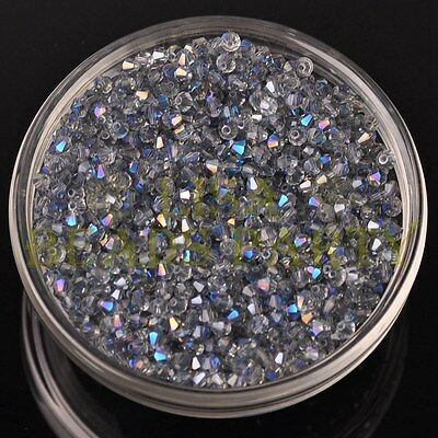 200pcs 3mm Bicone Faceted Crystal Glass Loose Spacer Beads lot Half Clear Blue