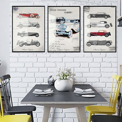 3 Piece Canvas Prints Set - Old Times Cars Vintage Posters Wall Art - Unframed