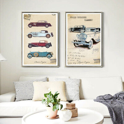 2 Piece Canvas Prints Set - Old Times Classic Cars Vintage Posters - Unframed