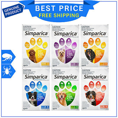 SIMPARICA for Dogs 6 Chews Flea and Tick Prevention All Sizes by Zoetis