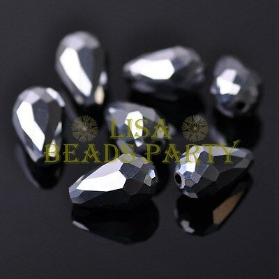 New 20pcs 16X10mm Faceted Teardrop Crystal Glass Spacer Loose Bead Silver