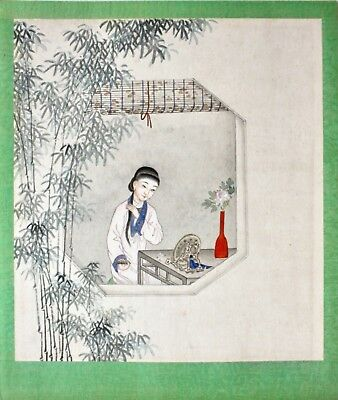 Chinese 20th c. Painting on Paper, Lady combing her Hair in front of a Mirror