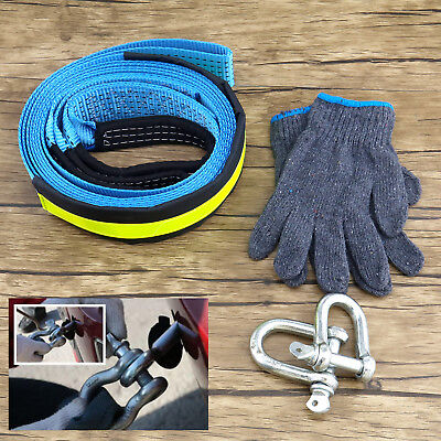 Vehicles Tow Rope Emergency Heavy Duty Road Recovery Strap 5M 8T With Hooks
