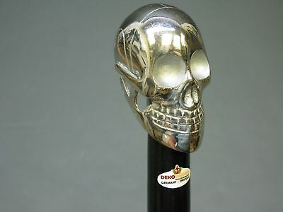 Walking Stick Cane Mystic LARP Skull Skull Head handl 94 cm Fine Wood Metal Gift