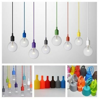 Colorful Home Ceiling Rose Pendant Lamp Light Bulb Silicon Gel Holder E27/E26