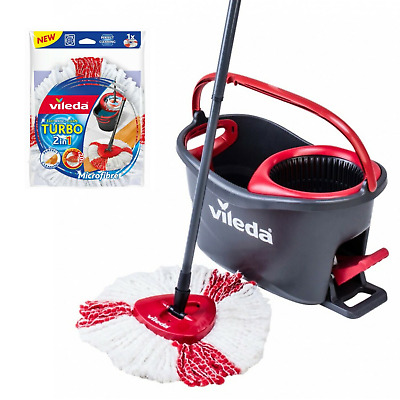Easy Wring and Clean Turbo Microfibre Spinning Mop and Bucket Set Vileda UK NEW!