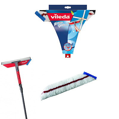 Vileda Telescopic Extendable Window Cleaning Cleaner Squeegee Glass Kit UK Stock