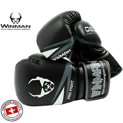 Pro Boxing Gloves PU Leather Fight MMA Sparring Training Bag Gel Pad Punch Mitt