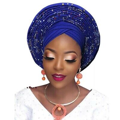 New colours in African Wedding Latest Auto Gele Ready to Wear Aso Oke naija 1pc
