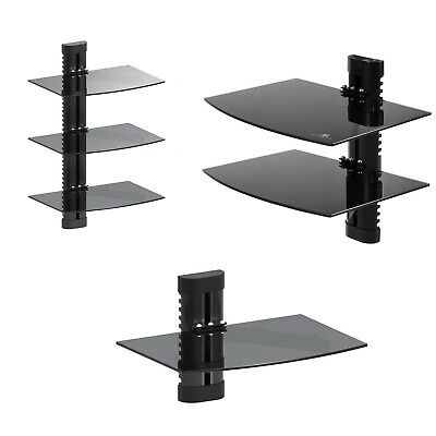 Wall Floating Glass 1-Tier 2-Tier 3-Tier Shelf Support DVD Console PS3 Xbox