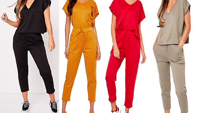 Casual Wear Ladies Womens Loose Baggy Fit V Neck Lounge Suit 2 Piece