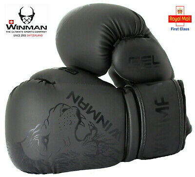 Boxing Gloves PU Leather Lion Face Pro Fight MMA Sparring Training Kickboxing
