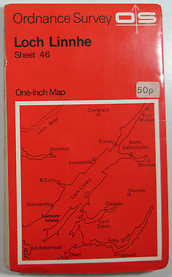 1971 Old Vintage OS Ordnance Survey One-inch Seventh Series Map 46 Loch Linnhe
