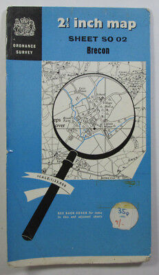 1951 old vintage OS Ordnance Survey 1:25000 First Series Prov Map SO 02 Brecon