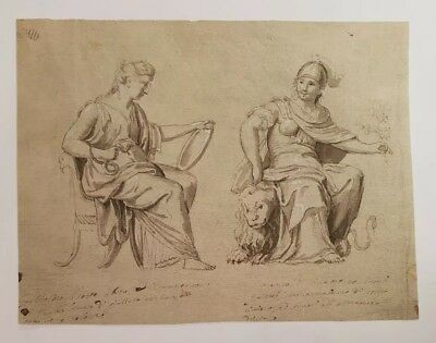 Superb 18th.Century Neo Classical Old Master Drawing Italian Provenance 1700s