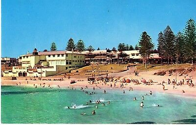 Postcard 1963 real photo Cottesloe beach Perth Western Australia people swimming