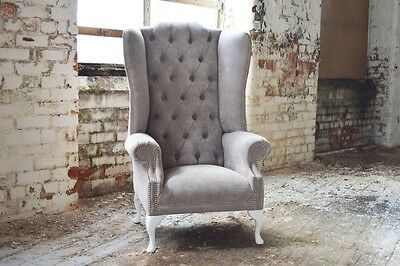 Modern Queen Anne Cream Mushroom Chesterfield Wing Arm Chair, Extra High Back