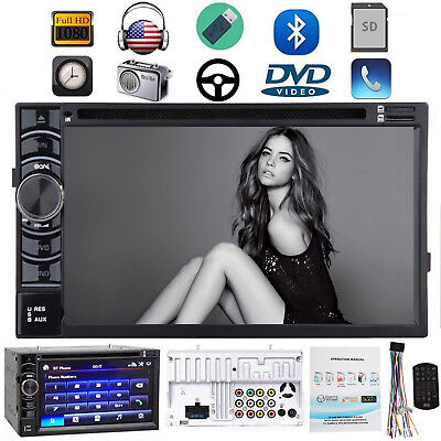 "Double 2 DIN 6.2"" Car Stereo Radio CD DVD Player FM/AM/USB/SD In dash Bluetooth"
