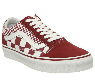 b0313a392b Mens Vans Old Skool Trainers Chilli Pepper Mix Check True White Trainers  Shoes