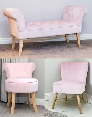 Luxurious Soft Pink Velvet Oyster Vanity Chair Bench Ottoman Bedroom Furniture S