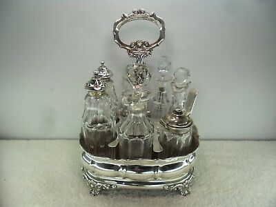 William IV Solid Silver Cruet Stand & 7 Bottles, London 1836