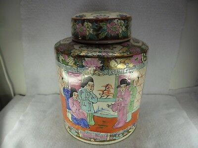 Large Oriental Early 20th Century Famille Biscuit Barrel