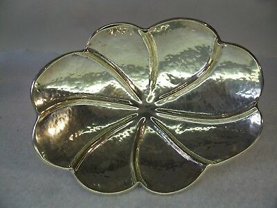 HANDMADE Hammered ARTS & CRAFTS Style Solid SILVER Lobed Oval Dish