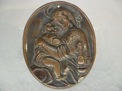 19thC Poss. French Cast BRONZE Mary & Child Plaque