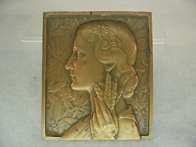 French Solid BRONZE c.1920 Agricultural MEDAL by Morlon