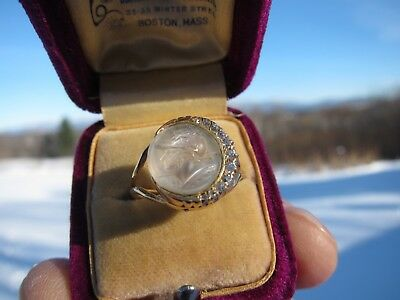 Antique Victorian 14 kt. Gold Carved Greek God Eros Moonstone & Diamonds Ring