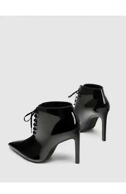 1e1adf77724f NWT ZARA BLACK Patent Lace Up High Heel Ankle Boots Sz  Us 6 eu36 ...