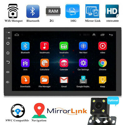 "7"" Double 2 DIN Android 8.1 Car Stereo MP5 Player Radio GPS Wifi Mirror Link"