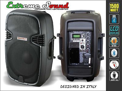 "Coppia Casse Amplificate Attive 1500W 10"" Audio Dj Mp3 Usb/Sd Bluetooth Radio Fm"