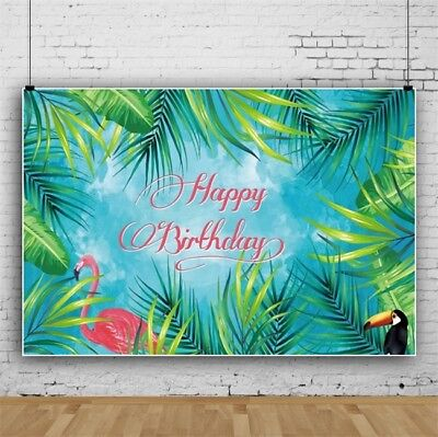 Tropical Jungle Backdrop Birthday Party Decoration Banner Photo Background 7x5ft