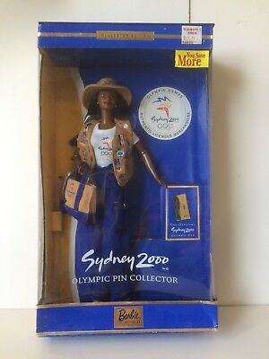 BARBIE Olympic Collector Pin SYDNEY 2000 AFRICAN AMERICAN BOX A BIT WORN
