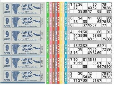 60 Books 9 Page Game 10 Strips Of 6 Tv Jumbo Bingo Ticket Sheet Big Bold Numbers