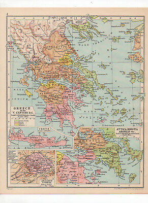 Antique Map Of Greece Printed C1930