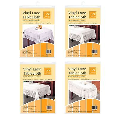 Vinyl Lace Tablecloth Table Cover White  Rectangle Embossed easy cleaning wipe