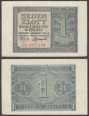 Poland 1 Zloty 1941 Unc From German Occupation WWII P-99 Completely Watermark