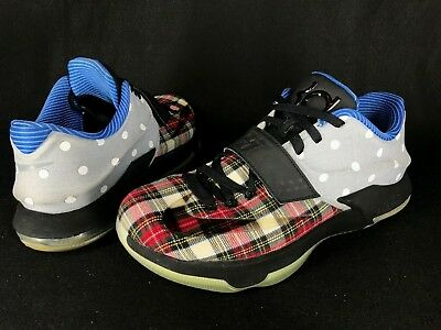 brand new 3e702 86bb0 NIKE KD VII 7 EXT Canvas QS Plaid Polka Dots Kevin Durant Sz 10.5 726439-600