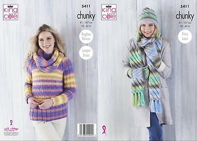 73ae2425066d99 Ladies Sweater Scarf Hat Mittens Cowl Chunky Knitting Pattern King Cole 5411
