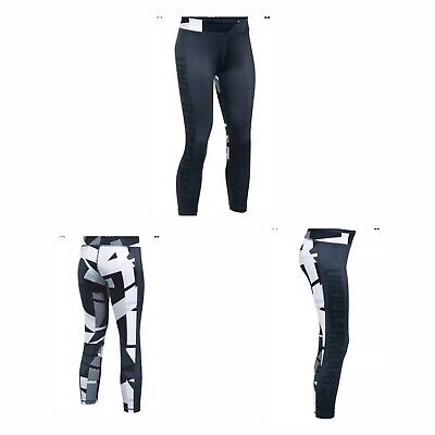 Under Armour Girls Mix Master Capris Black Gray White Leggings  XS Youth 1289883