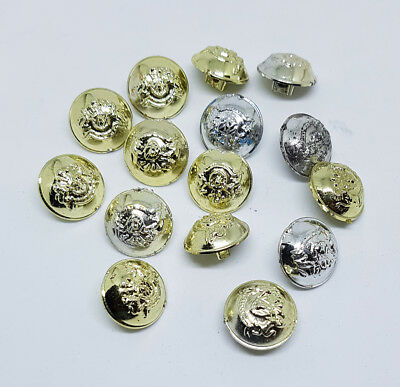17 x Vintage Coat Of Arms Plastic Buttons, Silver & Gold Tones Round Buttons Lot