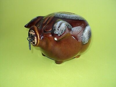 1957 Hull Pottery Corky Pig Bank Brown With Cork And Ring