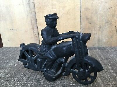 Vintage Cast Iron Cop on Motorcycle, Harley-Davidson, Indian, VL,FL