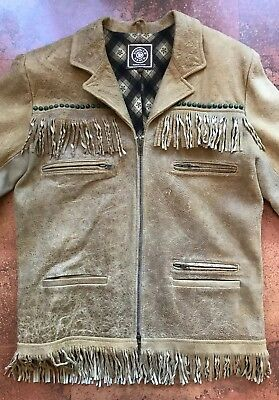 Double D Ranch Distressed Leather Fringe Jacket Studded Zip Up Mens Small XS